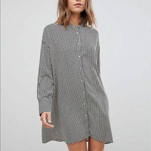 stradivarius striped shirt dress